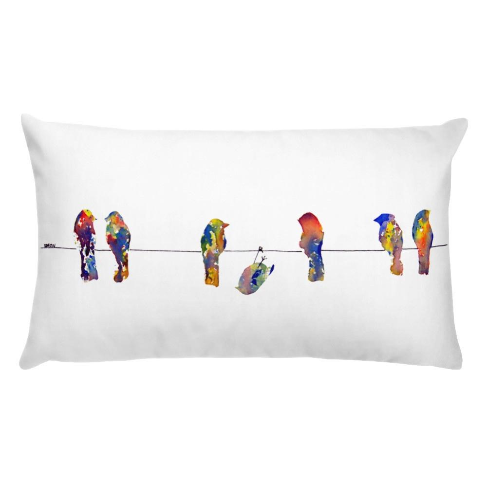 birds on a wire stuffed pillow print