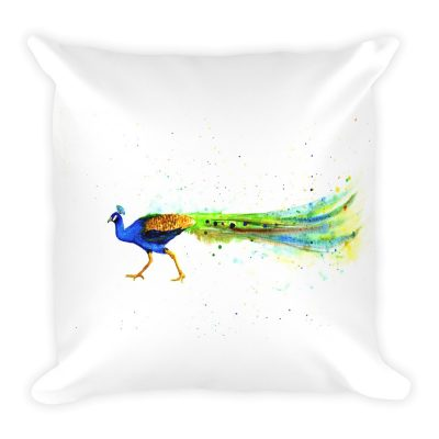 Peacock Art Print on Stuffed Pillow