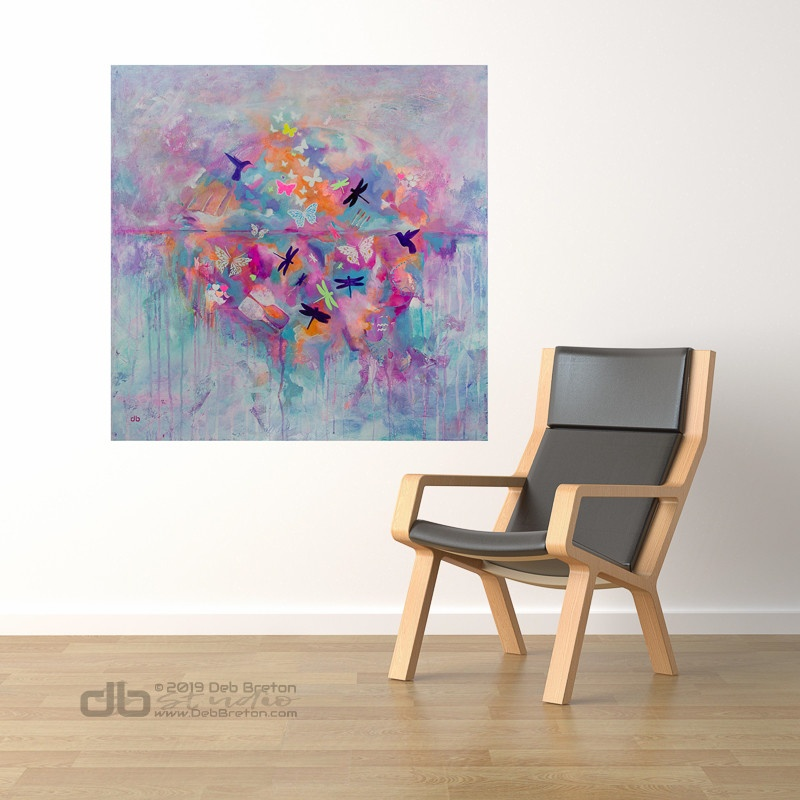 Dreams Take Flight abstract painting in home