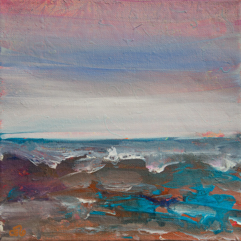 small square seascape painting on canvas