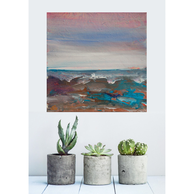Small abstract seascape painting in interior