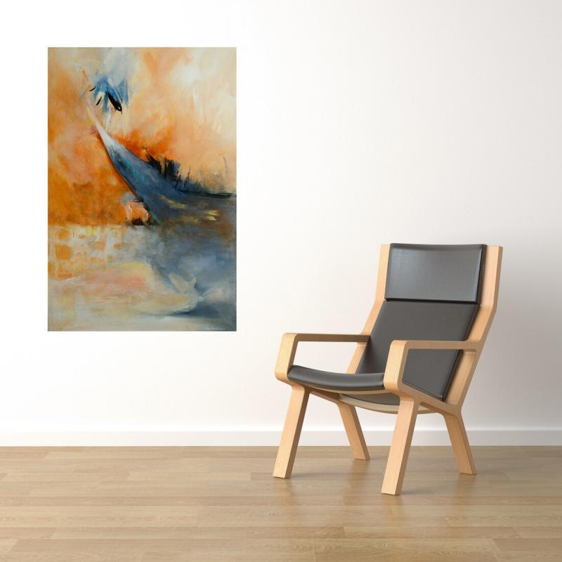 large vertical painting in situ