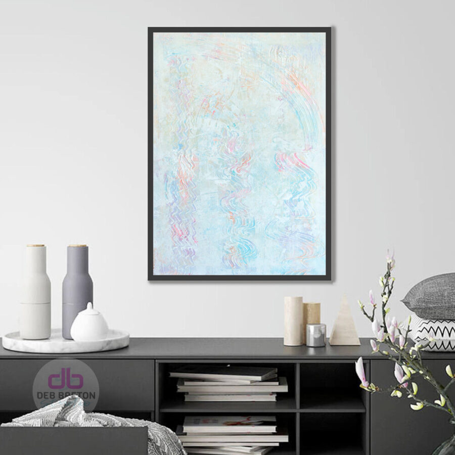 Angels among us textured painting hanging in interior