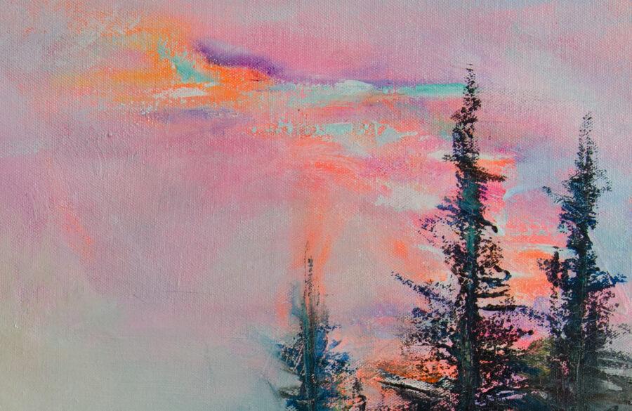 close-up details of landscape painting