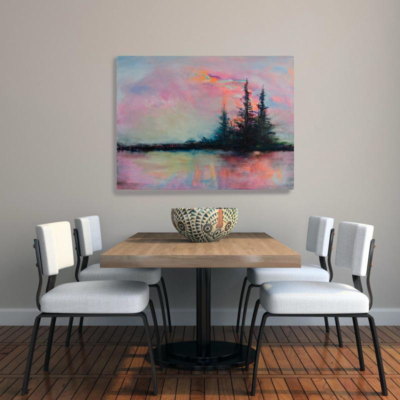 oil painting landscape in living area