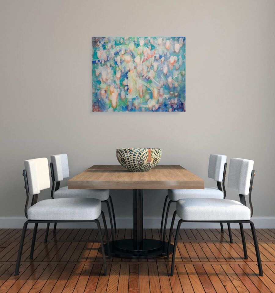 original abstract painting in dining area