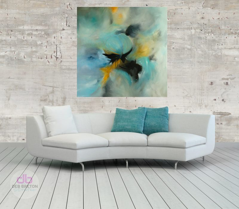 large modern abstract painting on canvas