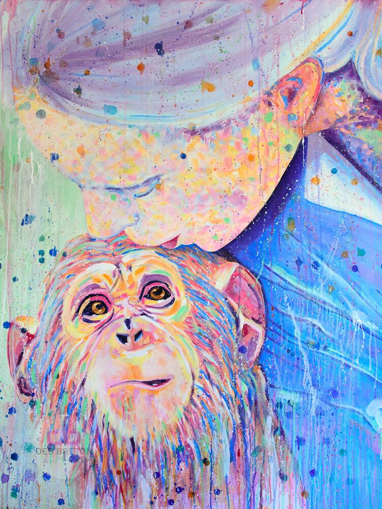 jane goodall with chimpanzee - original painting