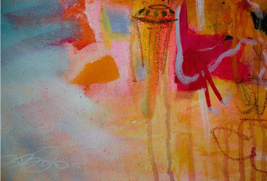 abstract mark making painting on canvas