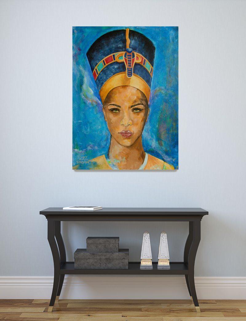 "Nefertiti portrait painting in situ 18 x 24"" by Deb Breton"