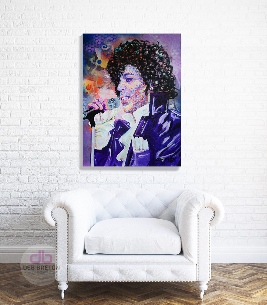 original painting of Prince hanging in living area