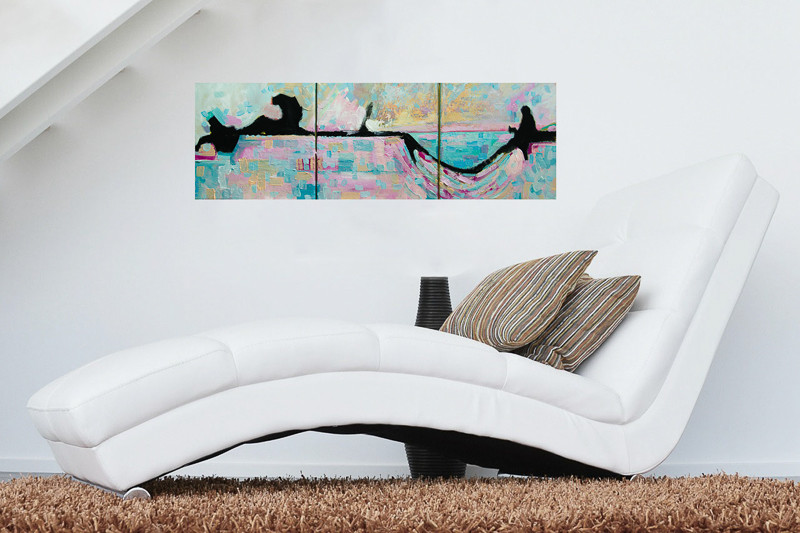 abstract impressionism painting triptych