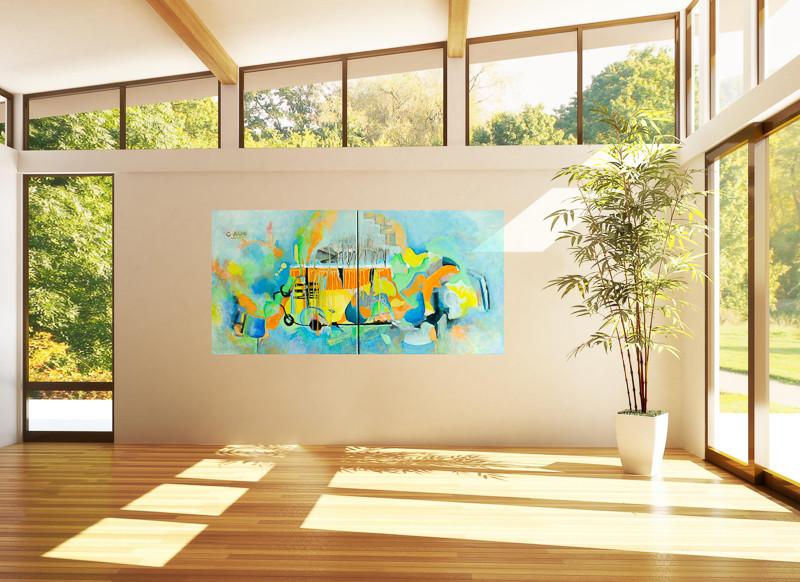 stairway to heaven abstract painting in living area