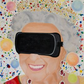 The Queens VR Dream – The queen with VR glasses