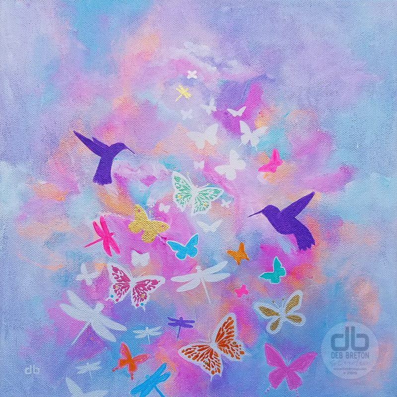 Winged Flight Small Square Abstract Painting