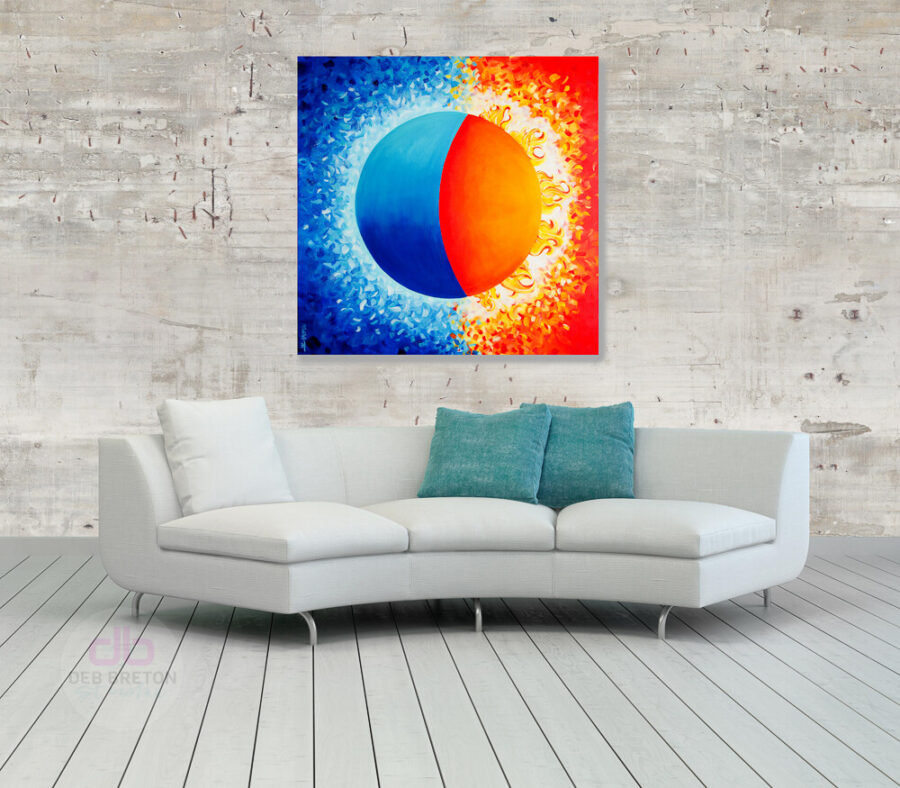 abstract sun and moon painting in situ