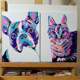 Colorful Abstract Dog and Cat Painting