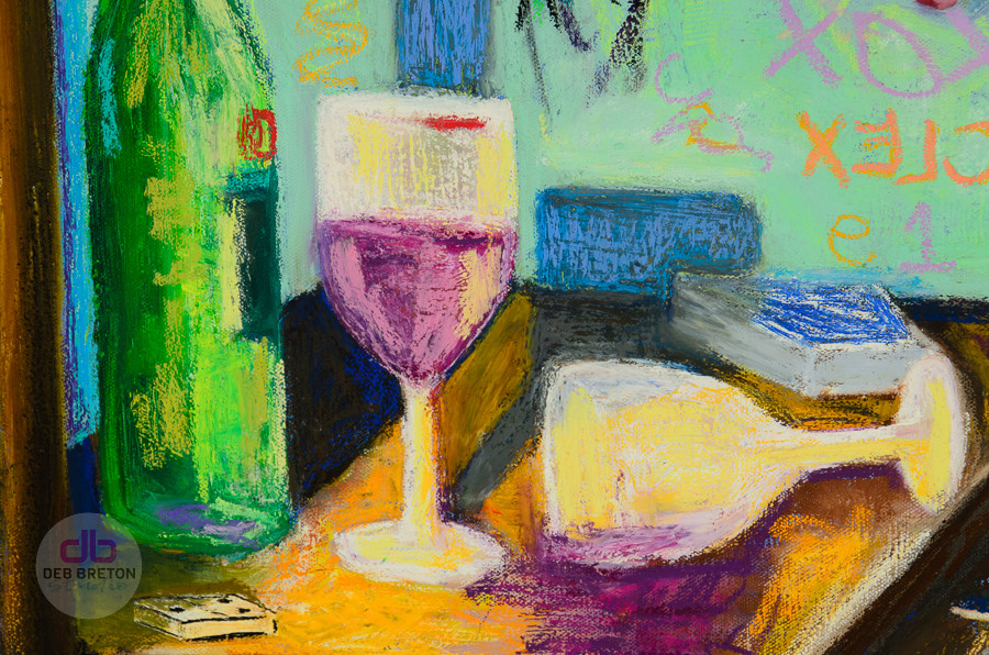 detail of wine bottle, glasses and domino