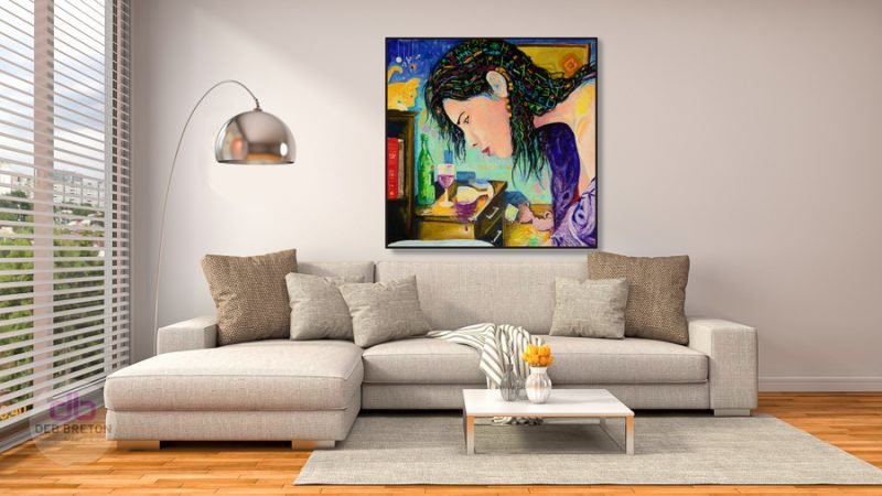Date night painting hanging in living area