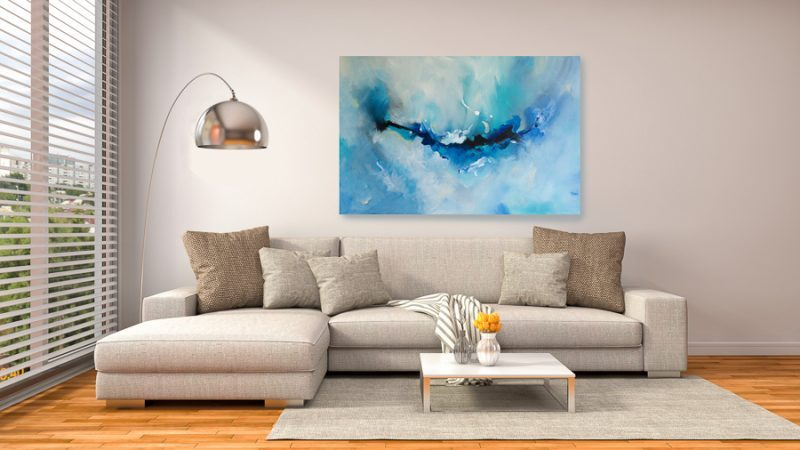 original abstract painting in living room