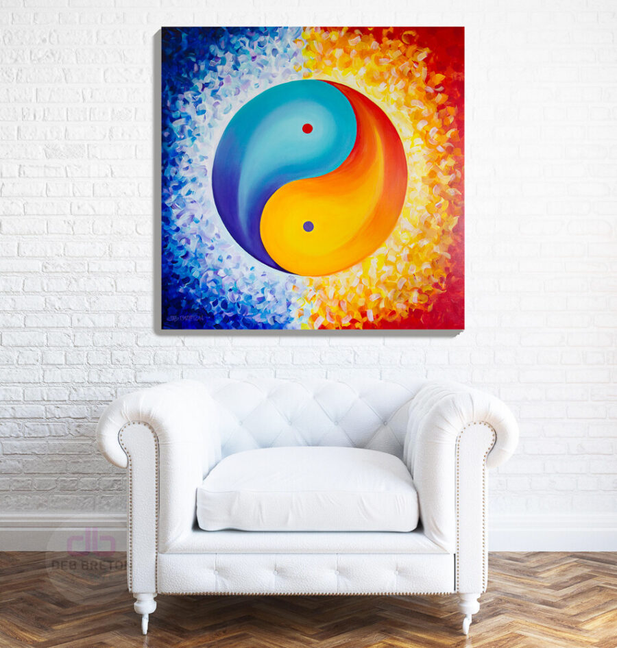 finding balance - yin yang painting in room