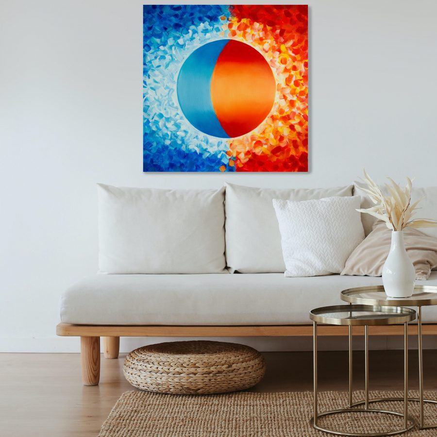 sun and moon painting in living area