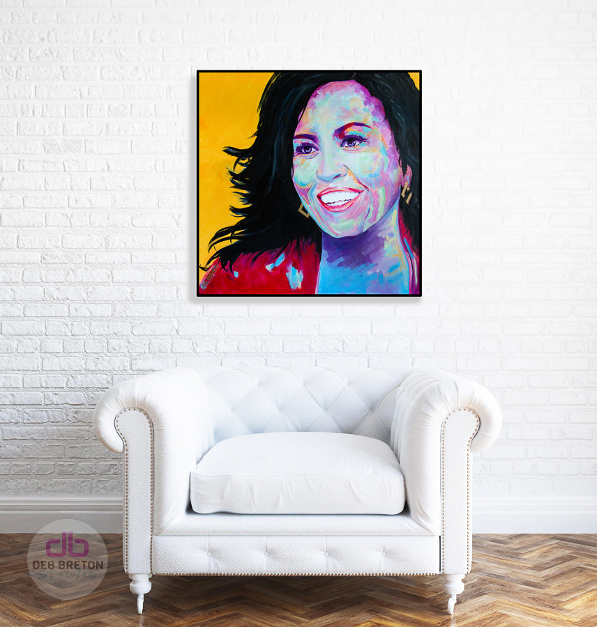 michelle obama portrait hanging in living area