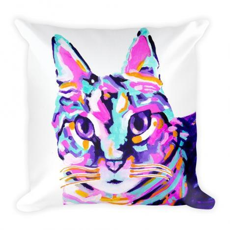 Tabby Cat Art Print on Pillow Case w/ stuffing