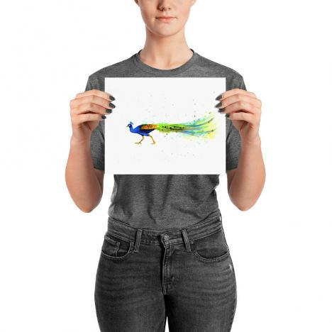 Colorful Peacock Poster Print – Watercolor peacock print