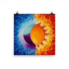 Colorful Sun and Moon Art Poster Print