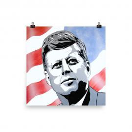 John F Kennedy Portrait Poster Print – President JFK Art