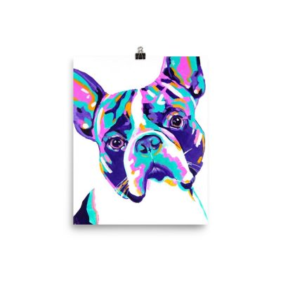 Boston Terrier Art Print on Enhanced Matte Paper Poster