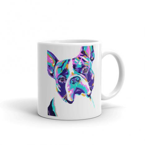 Colorful Dog – Boston – Terrier Art Mug