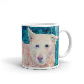 White Shepherd Husky Mix Dog Mug