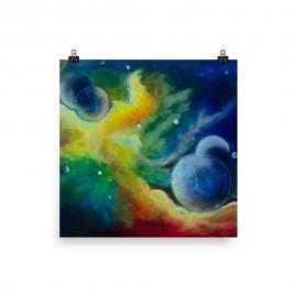 Across the Universe Poster Print of outer space with multiple moons