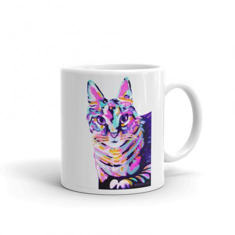 Colorful Cat – Art Mug by Deb Breton