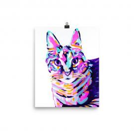 Tabby Cat Art Print Poster on Enhanced Matte Paper
