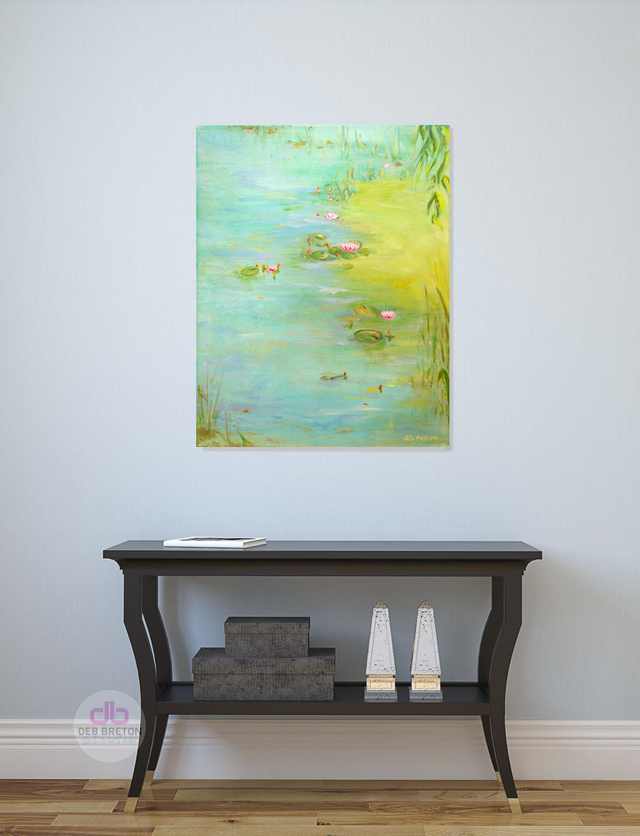 PEACEFUL POND OIL PAINTING BY DEB BRETON