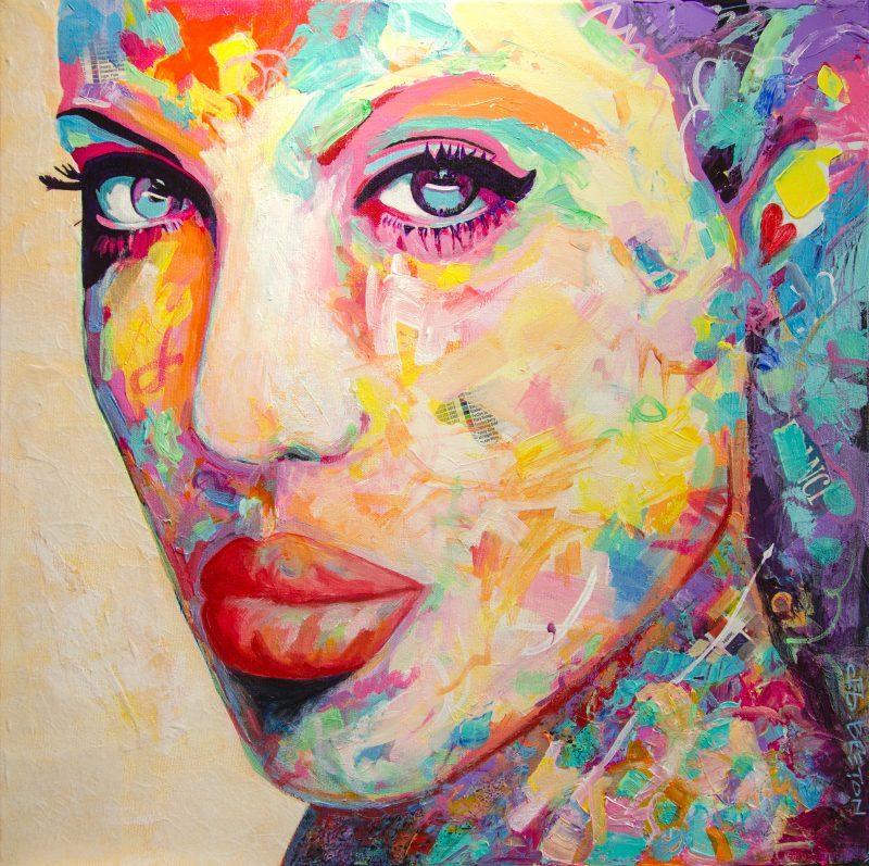 """Femme Exotica - 20 x 20"""" (51 x 51cm) acrylic portrait painting"""